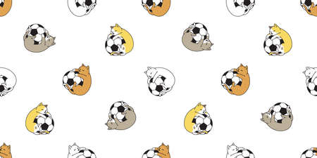 cat seamless pattern football soccer kitten calico vector pet sport scarf isolated tile background cartoon animal repeat wallpaper doodle illustration design