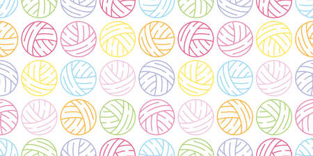 yarn ball seamless pattern vector balls of yarn knitting needles toy repeat wallpaper tile background cartoon illustration color design