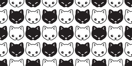 cat seamless pattern kitten head calico vector pet scarf isolated repeat background animal cartoon tile wallpaper illustration doodle black white design Иллюстрация