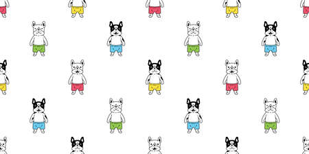 dog seamless pattern french bulldog vector cartoon character scarf isolated tile wallpaper repeat background illustration gift wrap paper design