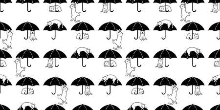 cat seamless pattern kitten umbrella calico vector pet cartoon scarf isolated repeat background animal tile wallpaper illustration doodle design Иллюстрация