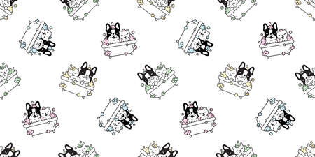 dog seamless pattern french bulldog bath shower vector cartoon tile background repeat wallpaper illustration scarf isolated doodle design Иллюстрация