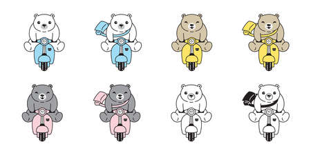 Bear vector polar bear ride bike icon  teddy cartoon character symbol illustration doodle design Иллюстрация
