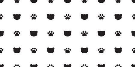 bear seamless pattern polar paw footprint vector head repeat wallpaper teddy scarf isolated cloud cartoon illustration tile background illustration doodle design