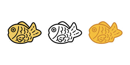 fish vector icon Taiyaki bakery food snack salmon tuna cartoon symbol illustration doodle design