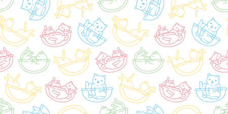 cat seamless pattern calico kitten breed vector pet scarf isolated cartoon animal repeat wallpaper tile background illustration design