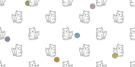cat seamless pattern kitten calico yarn ball breed vector pet scarf isolated cartoon animal tile wallpaper repeat background illustration doodle design