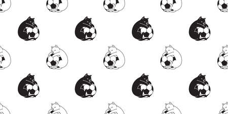 cat seamless pattern football soccer kitten calico vector pet sport scarf isolated tile background cartoon animal repeat wallpaper illustration doodle design