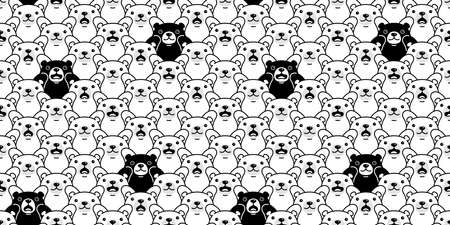 Bear seamless pattern polar bear vector breed cartoon repeat background tile wallpaper illustration design Иллюстрация