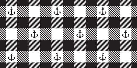 Anchor seamless pattern vector boat checked tartan plaid helm pirate maritime Nautical scarf isolated ocean sea repeat wallpaper tile background illustration design Иллюстрация
