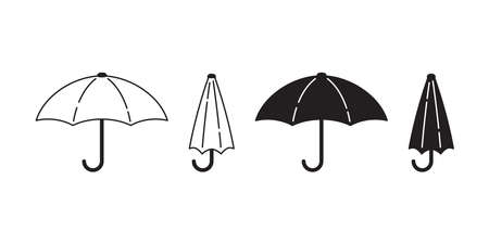 umbrella vector icon  rain cartoon character symbol doodle illustration white black design