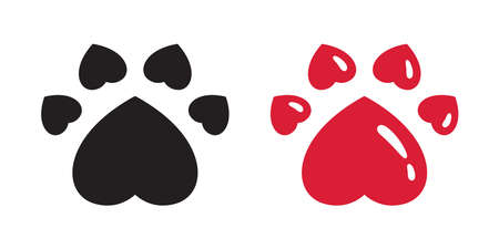 dog paw vector heart footprint icon  french bulldog cat character cartoon symbol doodle illustration design