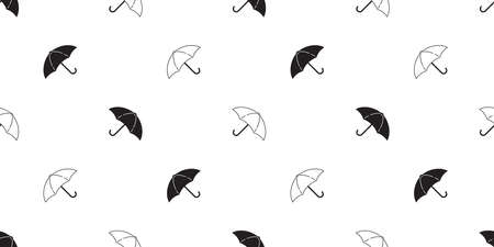 umbrella seamless pattern rain isolated cartoon tile wallpaper repeat background illustration doodle black white design Иллюстрация