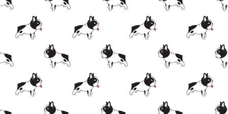 dog seamless pattern french bulldog smile vector footprint paw cartoon repeat wallpaper tile background scarf isolated illustration doodle design