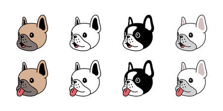 dog vector french bulldog icon head smile puppy pet breed paw character cartoon symbol scarf doodle illustration design Иллюстрация