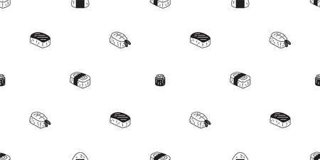 Sushi seamless pattern onigiri vector japanese food tile background scarf isolated illustration cartoon repeat wallpaper design
