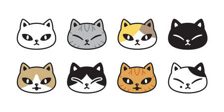 cat vector kitten calico icon pet breed head character cartoon doodle symbol illustration design