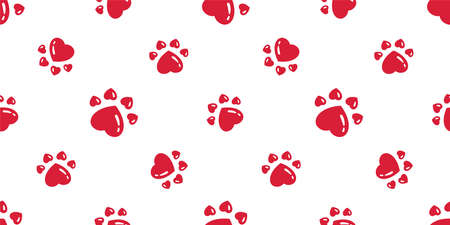 dog paw seamless pattern heart footprint valentine cat bear vector french bulldog cartoon scarf repeat wallpaper tile background doodle illustration red design