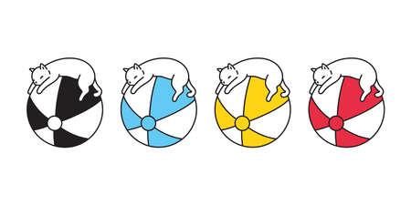 cat vector kitten icon ball calico logo sleeping pet beach sport cartoon character sport doodle symbol illustration design