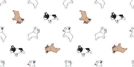 dog seamless pattern french bulldog smile vector breed footprint paw cartoon repeat wallpaper tile background scarf isolated illustration doodle design