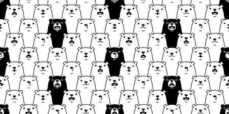 Bear seamless pattern polar bear vector breed cartoon tile wallpaper doodle repeat background illustration black white design