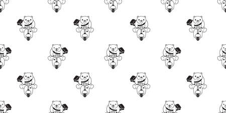 Bear seamless pattern polar bear vector riding bike cartoon motorcycle tile wallpaper repeat background illustration design 向量圖像