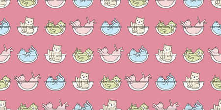 cat seamless pattern kitten calico breed vector pet scarf isolated cartoon animal repeat wallpaper tile background illustration design 向量圖像