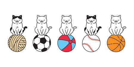 cat vector basketball kitten calico icon logo pet yarn ball soccer football baseball sport cartoon character sport doodle symbol illustration design 向量圖像