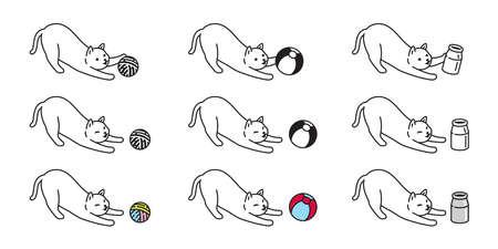 cat vector kitten toy yarn ball icon calico milk bottle pet breed character cartoon doodle symbol illustration design
