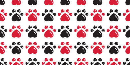dog paw seamless pattern heart footprint valentine cat bear vector french bulldog cartoon scarf tile background repeat wallpaper doodle illustration red black design