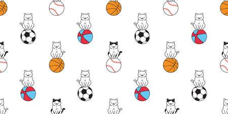 cat seamless pattern kitten beach ball calico basketball baseball sport pet scarf isolated cartoon animal tile wallpaper repeat background doodle illustration design