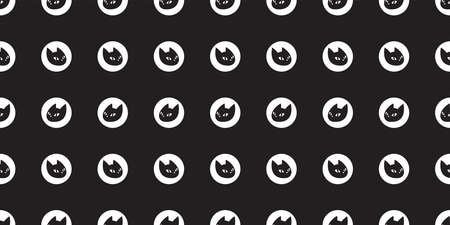 cat seamless pattern kitten head polka dot calico breed vector pet scarf isolated cartoon animal tile wallpaper repeat background illustration black doodle design