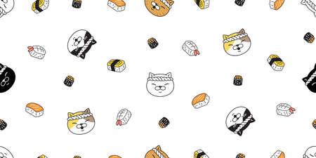 cat seamless pattern kitten chef sushi ramen head calico japan food vector pet scarf isolated cartoon animal tile wallpaper repeat background illustration doodle design 向量圖像
