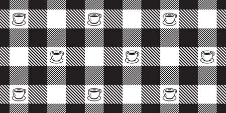 coffee tea cup seamless pattern checked tartan plaid vector tea milk glass repeat background scarf isolated tile wallpaper cartoon illustration doodle design