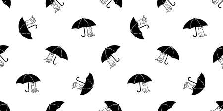 cat seamless pattern kitten umbrella calico vector pet cartoon sleeping scarf isolated animal repeat background tile wallpaper illustration doodle design
