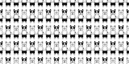 dog seamless pattern french bulldog vector cartoon character scarf isolated tile wallpaper repeat background gift wrap paper illustration design