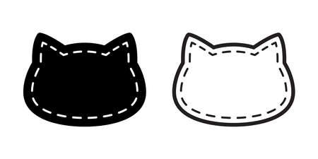 cat vector kitten icon dash line calico pet breed head character cartoon doodle symbol illustration design