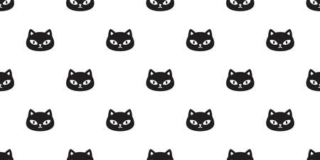 cat seamless pattern kitten head calico vector pet scarf isolated cartoon animal tile wallpaper repeat background illustration doodle design 向量圖像