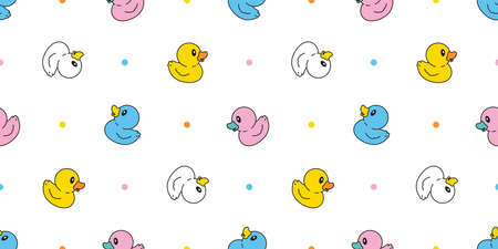 duck seamless pattern rubber duck bathroom shower toy chicken bird vector pet scarf isolated cartoon animal tile wallpaper repeat background doodle illustration design