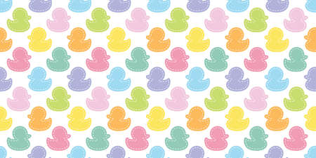 duck seamless pattern rubber duck bathroom shower dash line toy chicken bird vector pet scarf isolated cartoon animal tile wallpaper repeat background doodle illustration pastel color design 向量圖像