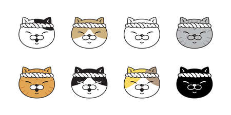 cat vector kitten sushi japan ramen food chef calico icon pet breed head character cartoon doodle symbol illustratio design 向量圖像