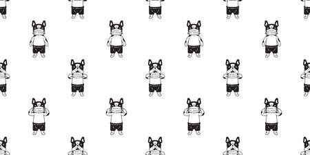 dog seamless pattern french bulldog face mask covid19 coronavirus pm 25 vector pet puppy animal scarf isolated tile background cartoon doodle repeat wallpaper illustration design