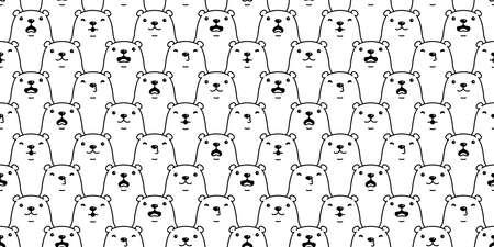 Bear seamless pattern polar bear vector breed cartoon tile wallpaper doodle repeat background illustration white design