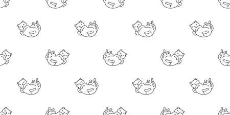 cat seamless pattern kitten sleeping calico vector pet scarf isolated repeat background cartoon animal tile wallpaper illustration white doodle design 向量圖像