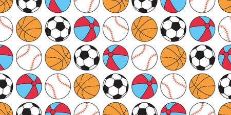 Ball seamless pattern baseball vector basketball soccer football sport cartoon beach scarf isolated repeat wallpaper tile background illustration doodle design