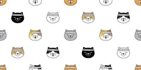 cat seamless pattern kitten head calico ramen sushi vector pet scarf isolated cartoon animal tile wallpaper repeat background illustration doodle design