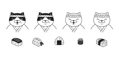 cat vector kitten sushi japan food calico icon pet breed character cartoon doodle symbol illustratio design