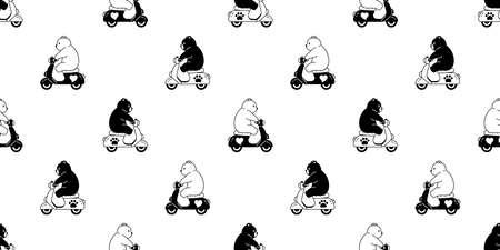 Bear seamless pattern polar bear vector riding bike cartoon motorcycle tile wallpaper doodle repeat background illustration design