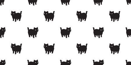 cat seamless pattern kitten calico vector pet scarf isolated repeat background cartoon animal tile wallpaper illustration white doodle black design 向量圖像