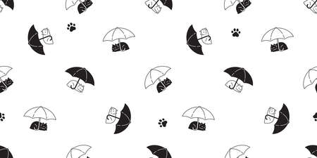 cat seamless pattern kitten umbrella paw calico vector pet cartoon scarf isolated animal repeat background tile wallpaper illustration doodle design